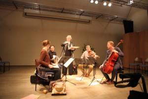 de sopraan Miranda van Kralingen met het Matangi Kwartet